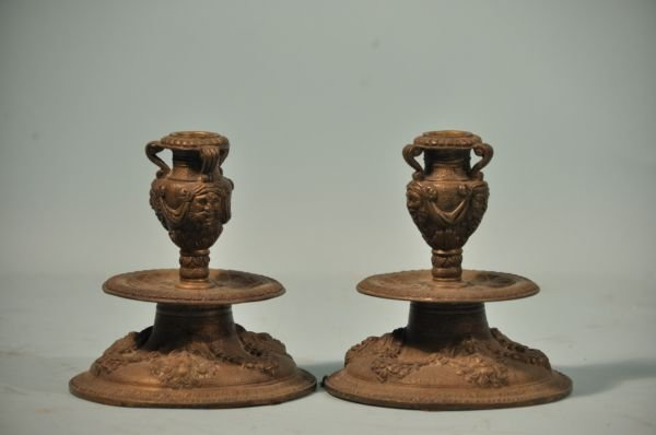 13: PAIR OF NEOCLASSICAL TASTE BRONZE CANDLESTICKS