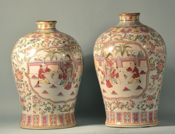 14: PAIR OF ANTIQUE CHINESE FAMILLE ROSE VASES