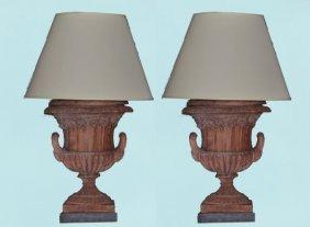 19: PAIR OF 19th C. TERRACOTTA NEOCLASSICAL URN LAMPS
