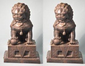 7: PAIR OF ANTIQUE BRONZE REPOUSSE FOO LIONS