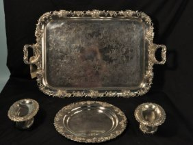 15: FOUR SILVERPLATED SERVING PIECES