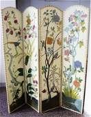 254 FOUR PANEL PAINTED LEATHER SCREEN