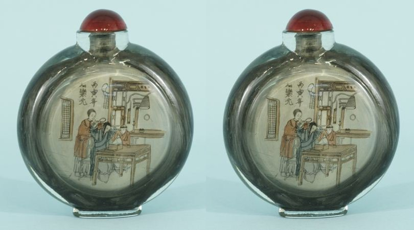 12: PAIR OF 19th CENTURY REVERSE PAINTED SNUFF BOTTLES