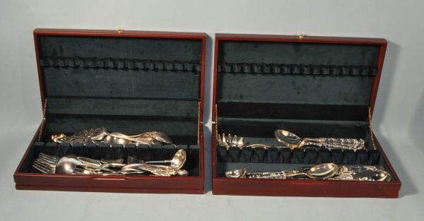 16: TWO MIXED BOX LOTS OF SILVERPLATED SERVING PIECES