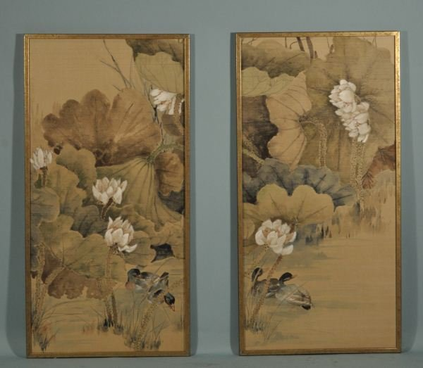 17: TWO CHINESE SILKSCREEN PAINTINGS