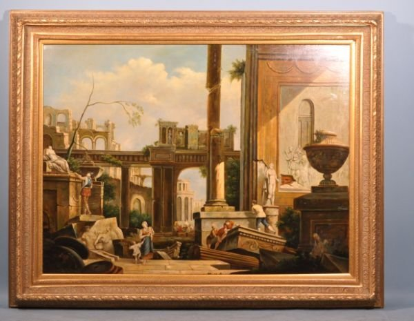 20: ARCHITECTURAL OIL ON CANVAS PAINTING