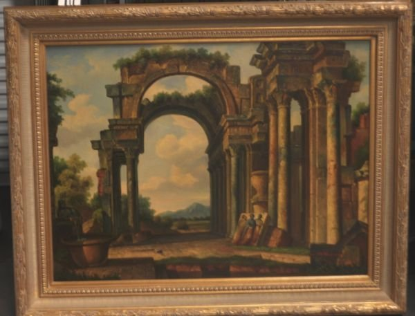 21: ARCHITECTURAL OIL ON CANVAS PAINTING