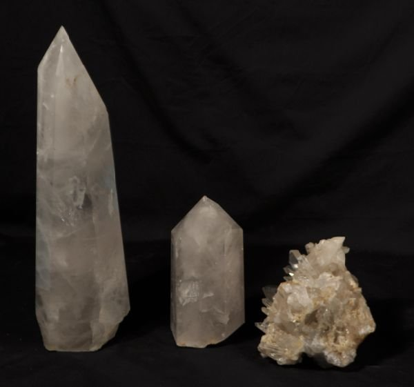 22: LOT OF THREE ROCK CRYSTAL PIECES