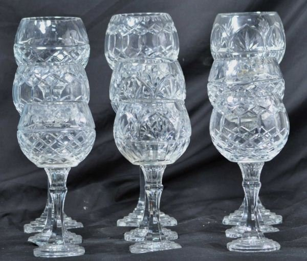 LOT OF NINE CUT GLASS GOBLETS