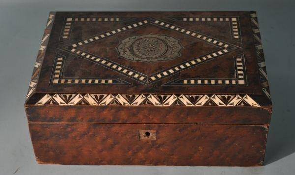 VINTAGE BOX WITH BONE & METAL INLAY