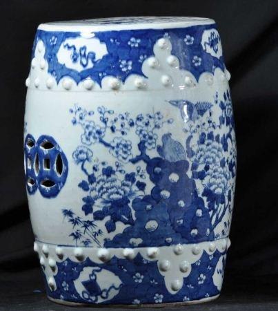 VINTAGE BLUE & WHITE PORCELAIN GARDEN STOOL