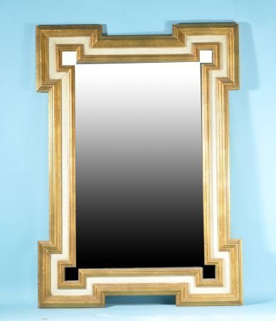 PAINTED AND GILDED FRAMED MIRROR