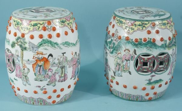 TWO MINIATURE CHINESE PORCELAIN GARDEN STOOLS
