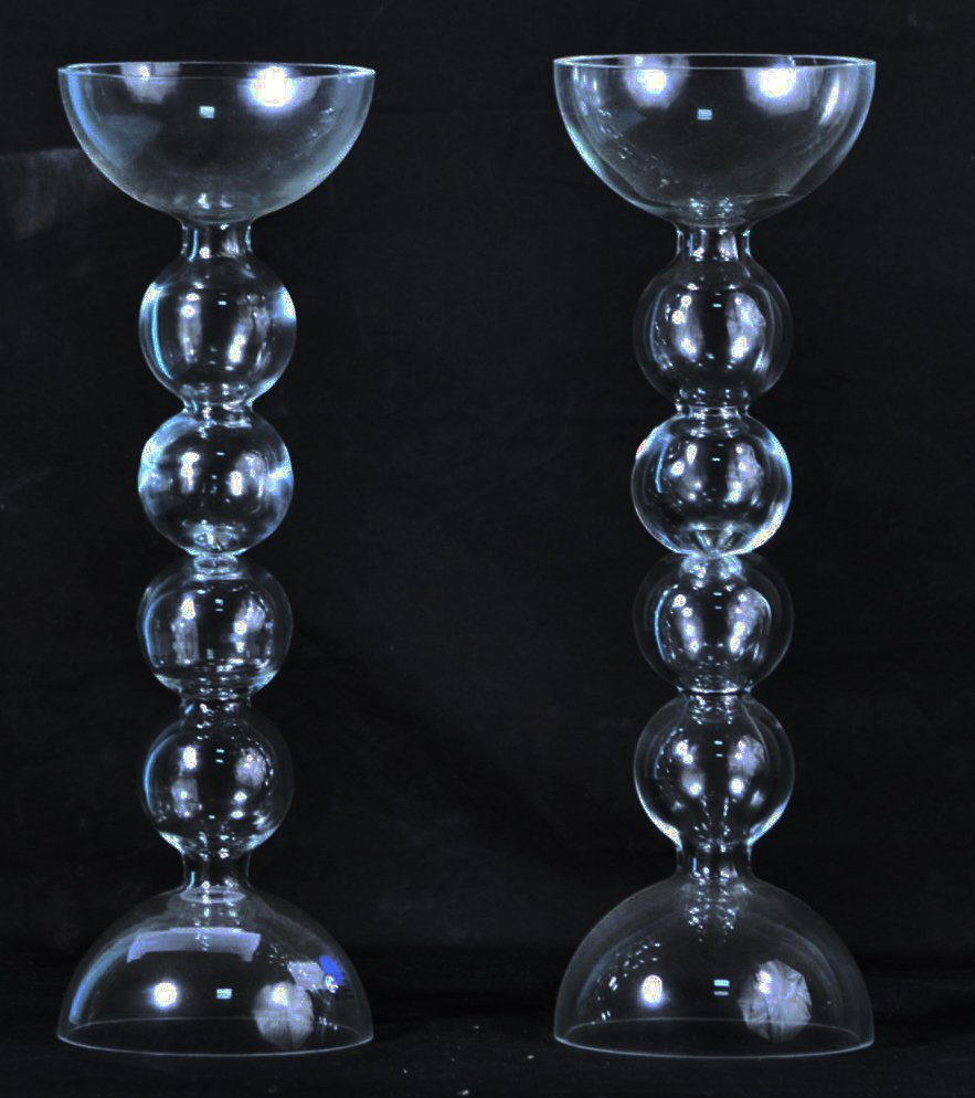 PAIR OF GLASS CANDLESTICKS