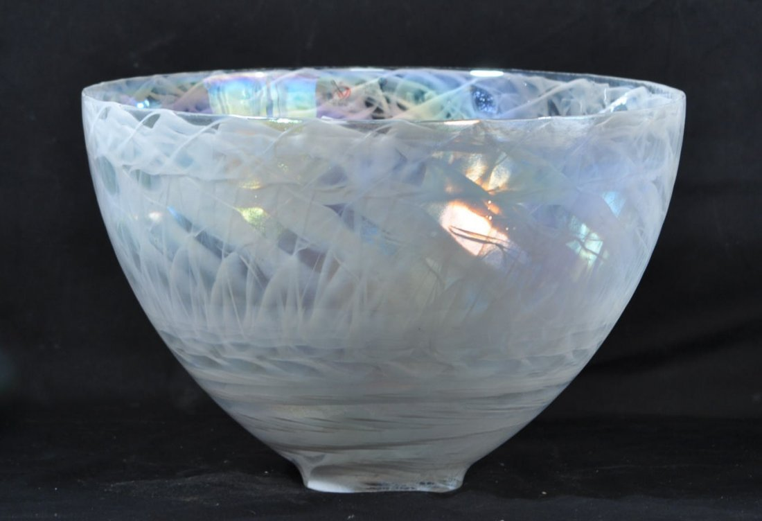 LARGE OPALESCENT ART GLASS BOWL