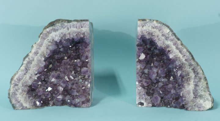 PAIR OF AMETHYST GEODE BOOKENDS