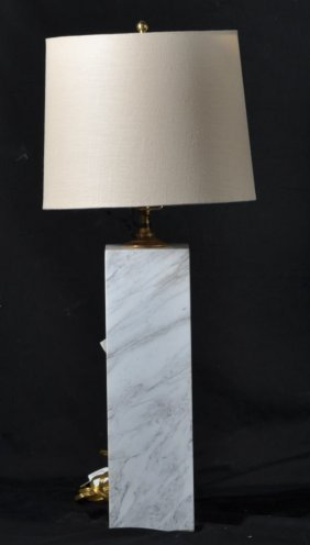 GREY AND WHITE BLOCK MARBLE LAMP