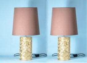 PAIR OF GILT LAMPS WITH LINEN SHADE