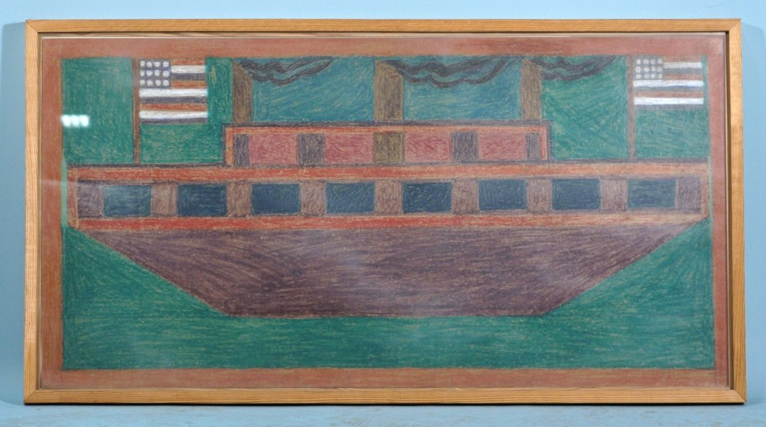 """EDDIE ARNING """"BOAT WITH TWO FLAGS"""" CRAYOLA/PAPER"""