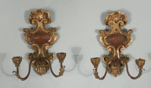 PAIR OF TWO-LIGHT CARVED AND GILDED WALL SCONCES