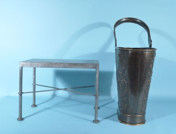 COPPER COAL BUCKET & METAL LOW TABLE