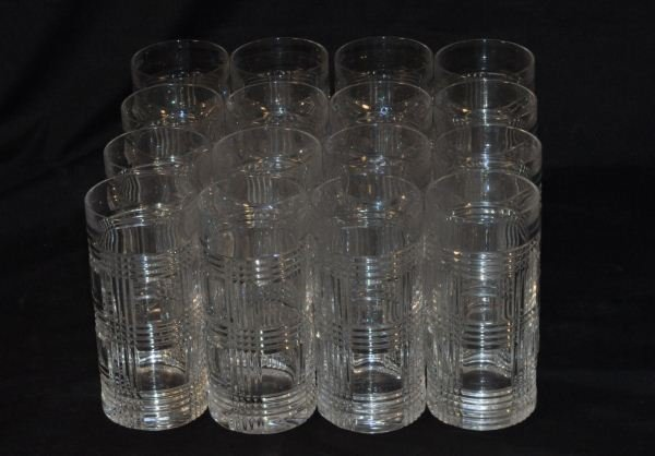 "16 RALPH LAUREN ""GLEN PLAID"" HIGHBALL CRYSTAL GLASSES"