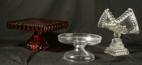 THREE GLASS SERVING PLATEAUS