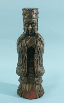 ANTIQUE WOOD CARVED CHINESE DIGNITARY