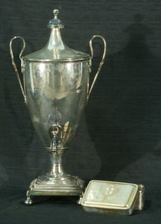 SILVERPLATED TEA URN AND BOX, CIRCA 1850
