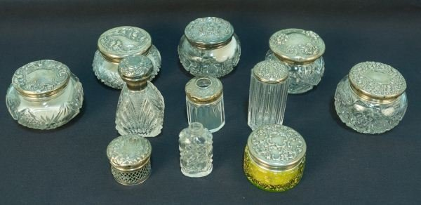 11- CUT GLASS & STERLING SILVER VANITY JARS