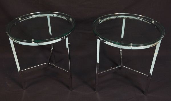 PAIR OF CHROME BASE GLASS TOP END TABLES