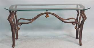 WROUGHT IRON BASE TABLE WITH BEVELED GLASS TOP