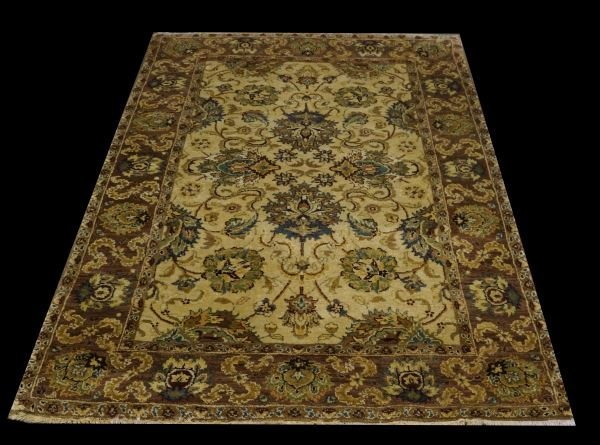 100% WOOL PILE RUG IN IVORY AND RUST