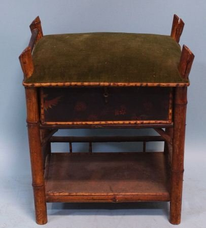 ANTIQUE BAMBOO MUSIC CABINET WITH VELVET CUSHION