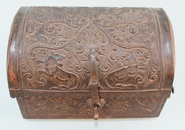 ANTIQUE TOOLED LEATHER CHEST
