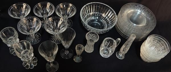 SET OF 31 HAND CUT CRYSTAL SERVING PIECES