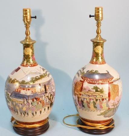 PAIR OF CHINESE SATSUMA VASES NOW LAMPS