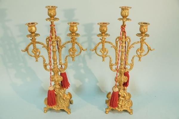 PAIR OF  GILT BRASS BAROQUE STYLE CANDELBRA