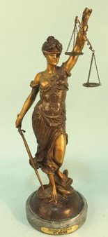 "A. MAYER ""BLIND JUSTICE"" BRONZE SCULPTURE"