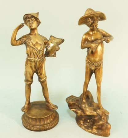 TWO BRONZE STATUES OF A PAPER BOY AND BOY FISHING