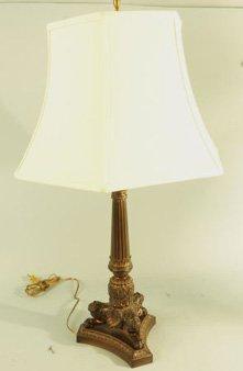 EMPIRE STYLE BRONZE PATINAED METAL COLUMN LAMP
