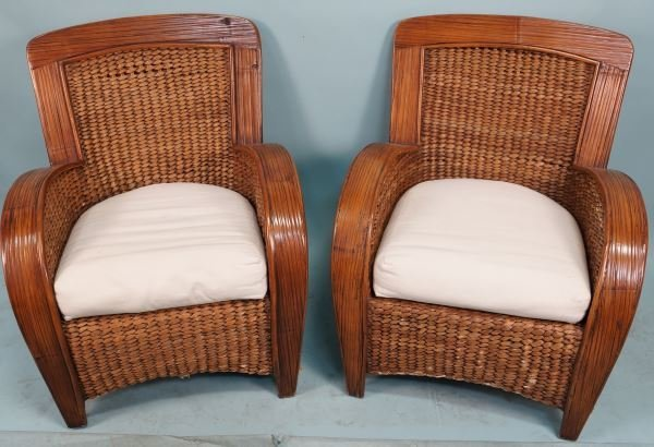 PAIR OF BAMBOO ARMCHAIRS WITH RUSH INSETS