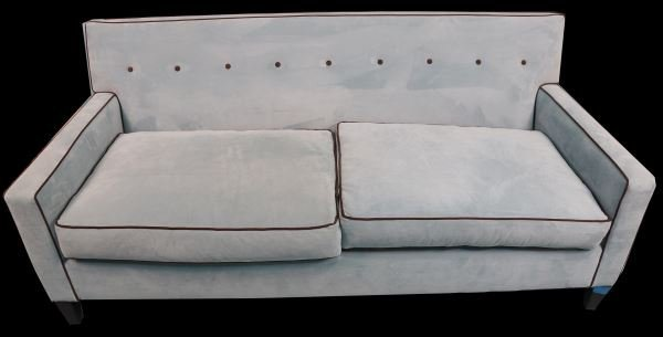 TWO-CUSHION VELVET SOFA WITH BROWN PIPING