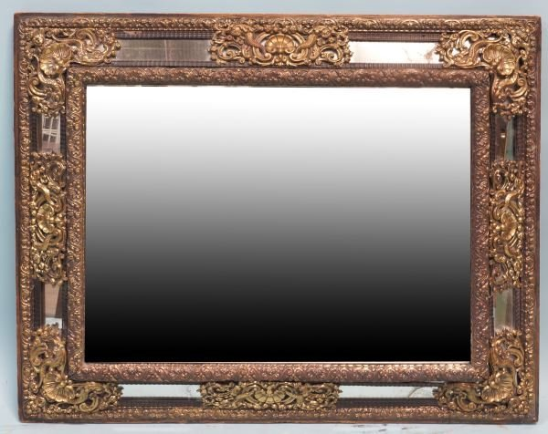 EARLY 19th CENTURY DUTCH BRASS REPOUSSE MIRROR
