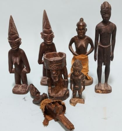 LOT OF SEVEN WOOD CARVED AFRICAN SCULPTURES