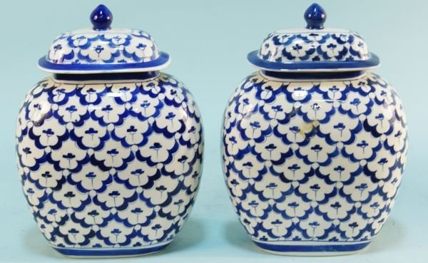 PAIR OF CHINESE BLUE & WHITE PORCELAIN TEMPLE JARS