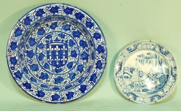 LOT OF TWO BLUE & WHITE PORCELAIN CHARGERS