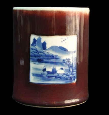 ANTIQUE CHINESE RED JAR WITH BLUE & WHITE PORCELAI
