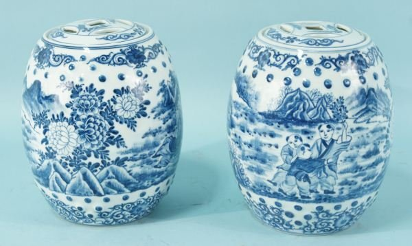 PAIR OF CHINESE BLUE & WHITE PORCELAIN LIDDED JARS