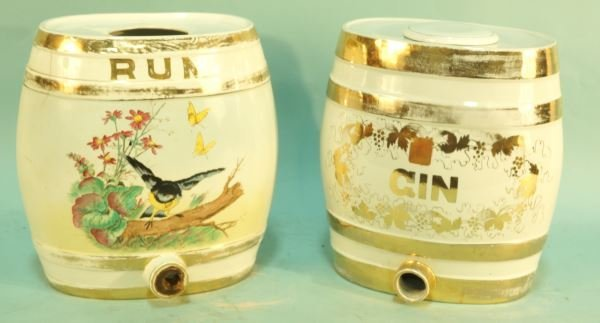 ANTIQUE GIN AND RUM PORCELAIN KEGS